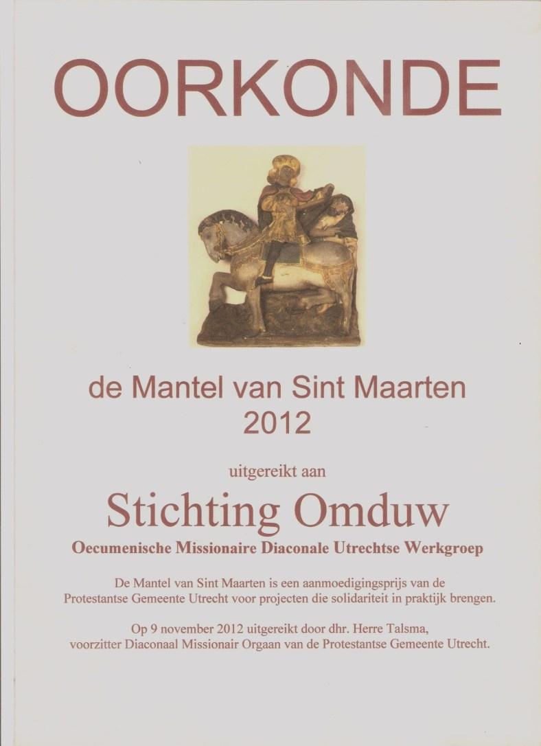 Oorkonde Maartensmantel  2012 Omduw