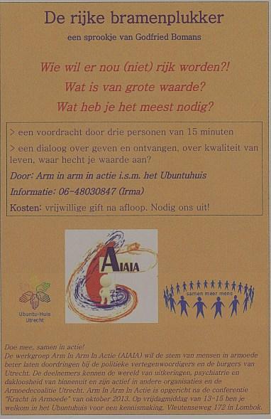 Aanbod van werkgroep Arm In Arm In Actie